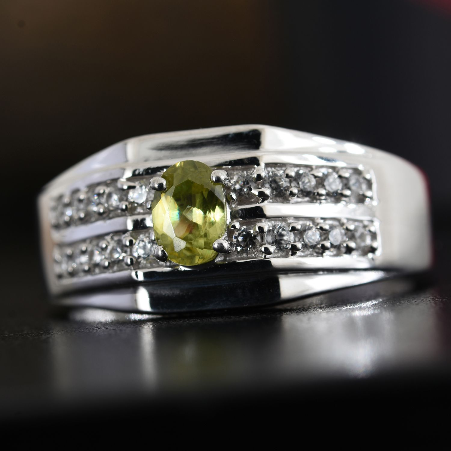 peridot oval in ring size very gold rings fine sphene diamond img estate yellow vintage