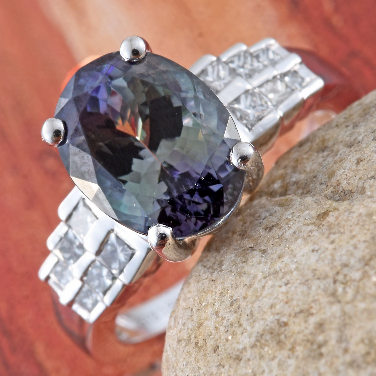 cut peacock carats tanzanite diamond ring sugarloaf image jewelry m colored untreated s and cushion gemstones estate