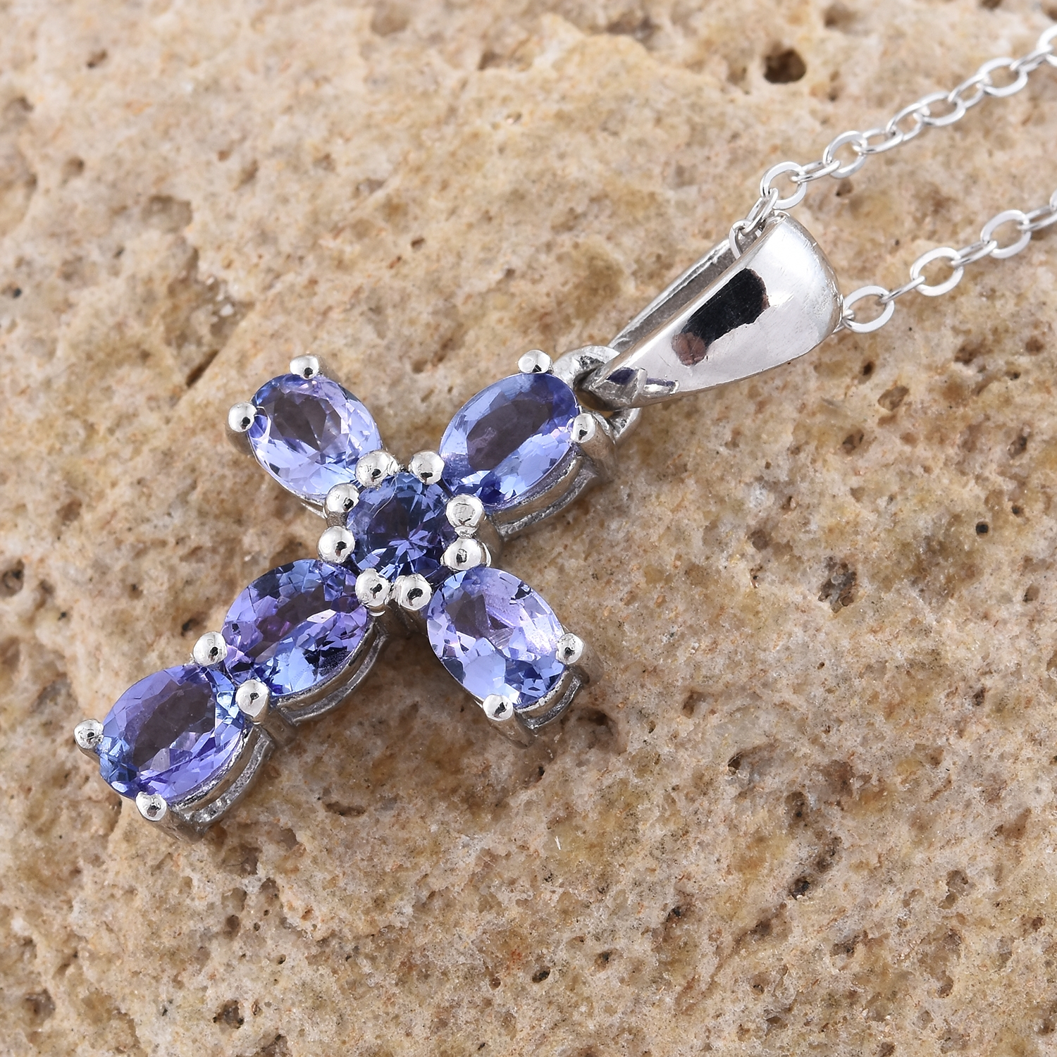 Premium aaa tanzanite platinum over sterling silver cross pendant premium aaa tanzanite platinum over sterling silver cross pendant with chain 20 in tgw 105 cts 2895726 aloadofball Choice Image