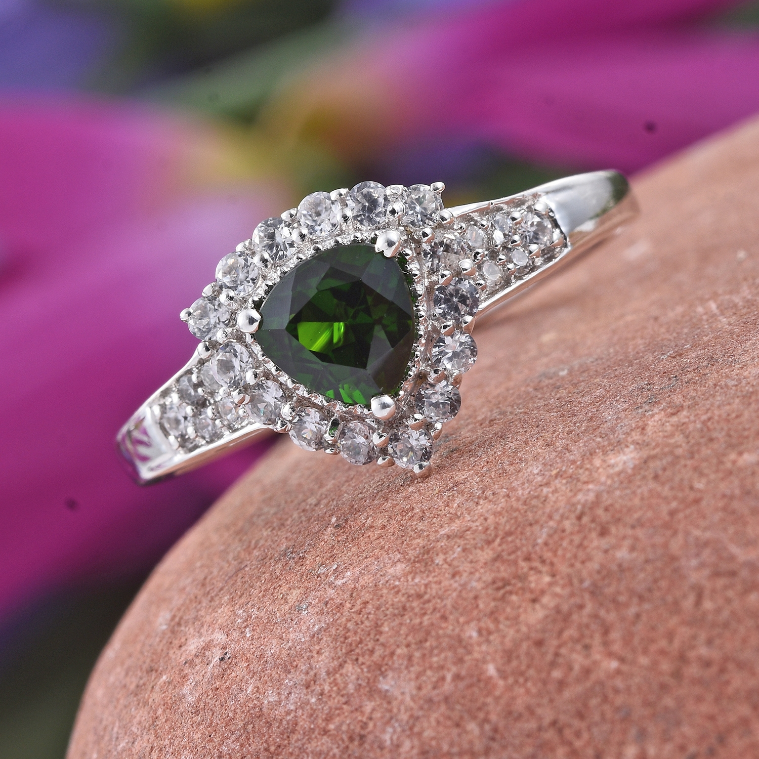 Russian Diopside, Cambodian Zircon Platinum Over Sterling Silver ...