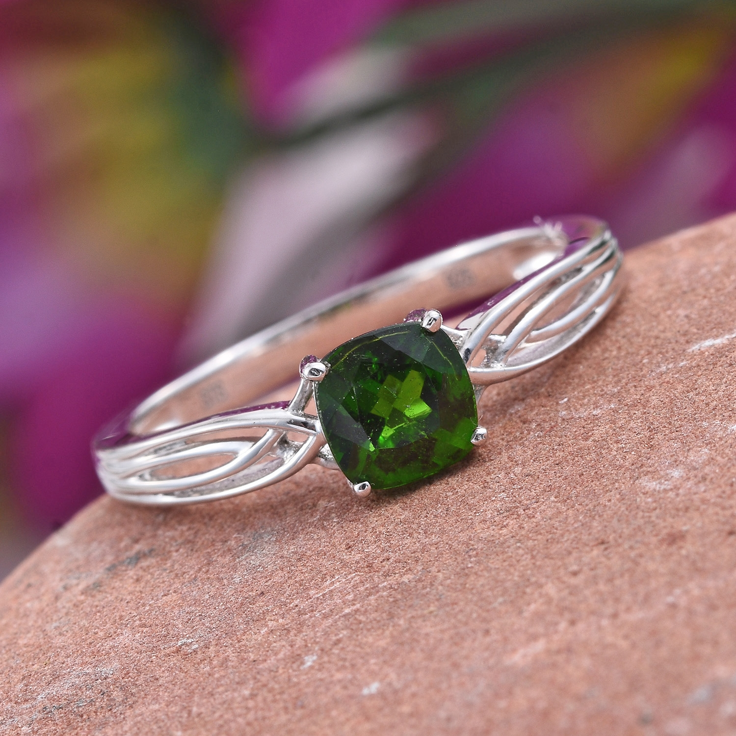 Russian Diopside Platinum Over Sterling Silver Solitaire Ring (Size ...
