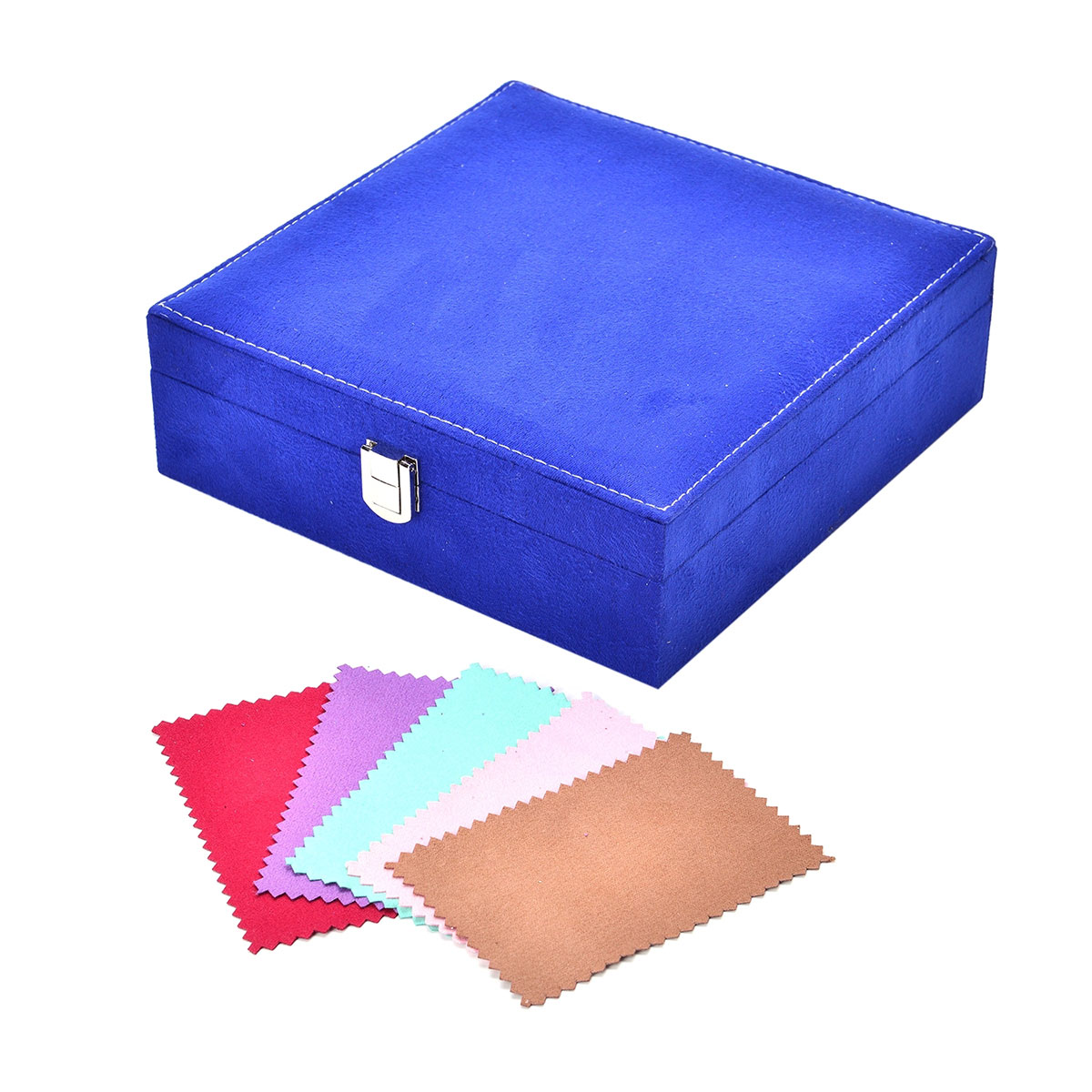 one time only blue velvet jewelry box in and multi color set of 5 silver polishing. Black Bedroom Furniture Sets. Home Design Ideas