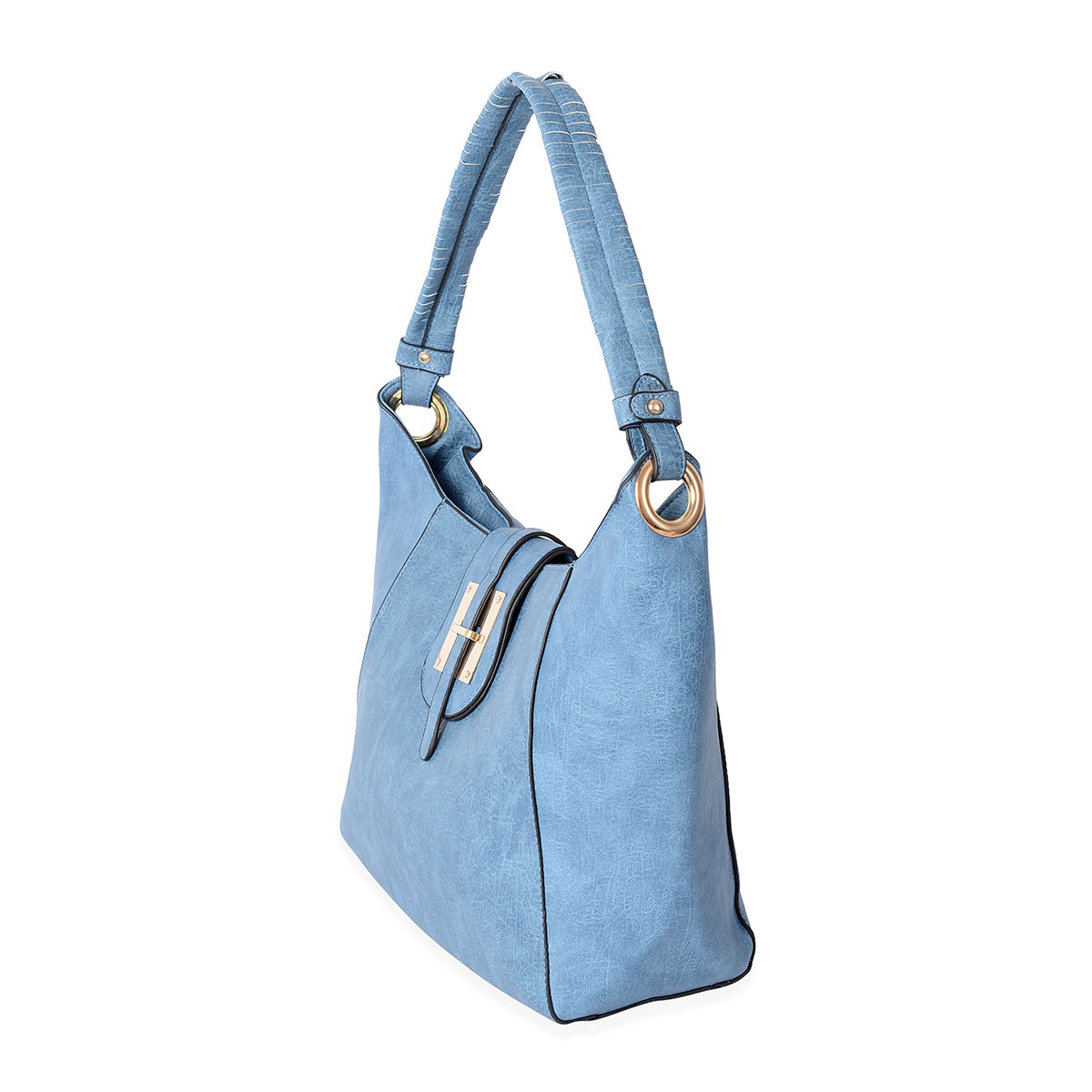 Blue Faux Leather Hobo Bag with Magnetic Belt Lock and Top Zipper Closure  (13 3x3 5x11 5 in)