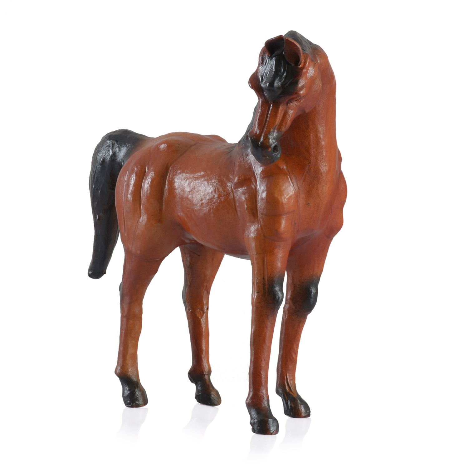 Decorative Walking Bay Leather Horse Statue Table Decor