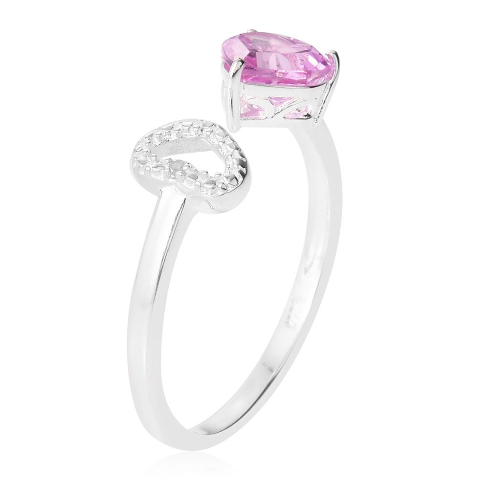 6842344bf ... Lab Created Pink Sapphire, Diamond Accent Sterling Silver Open Heart  Ring (Size 6.0) ...