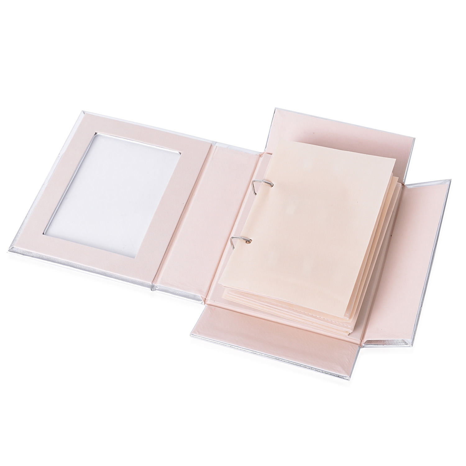 silver 4 page transparent jewelry binder booklet with magnetic