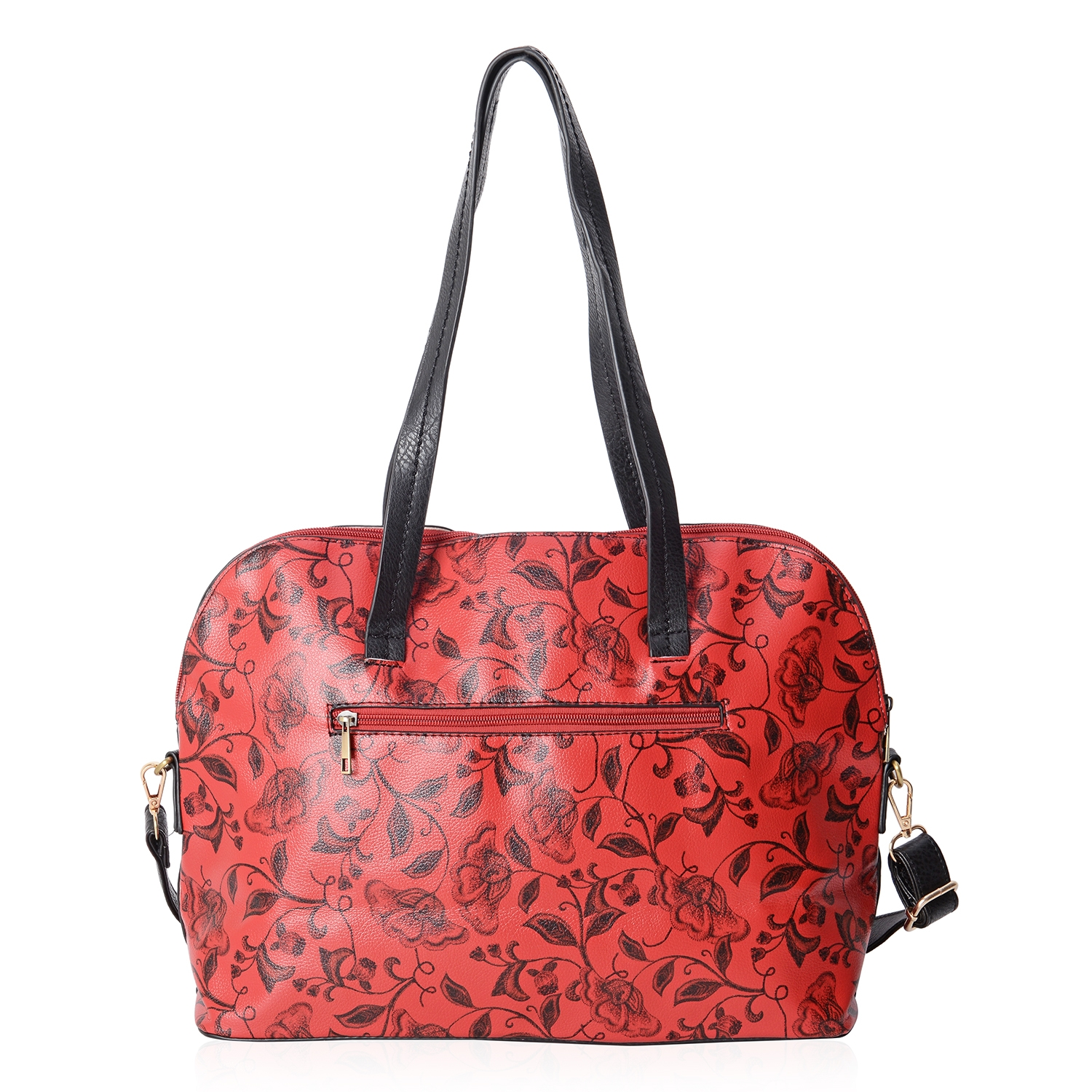 1b910ba9be92 Blue with Flower Pattern Faux Leather Tote Bag with Removable ...