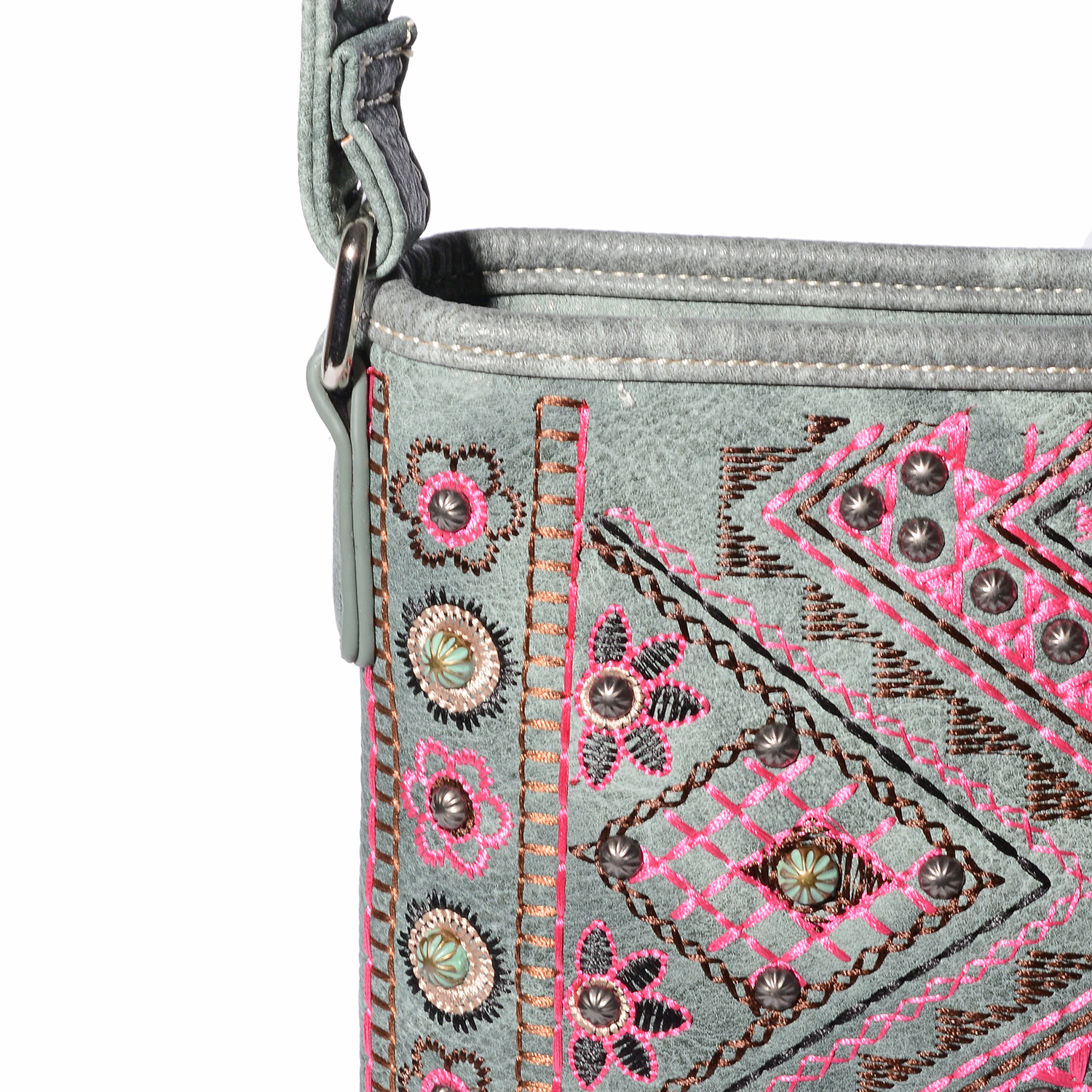P G COLLECTION Sage Vegan Leather Embroidered Tribal Print Southwest  Messenger Crossbody Bag (10.5x8. 12ef441ebe542