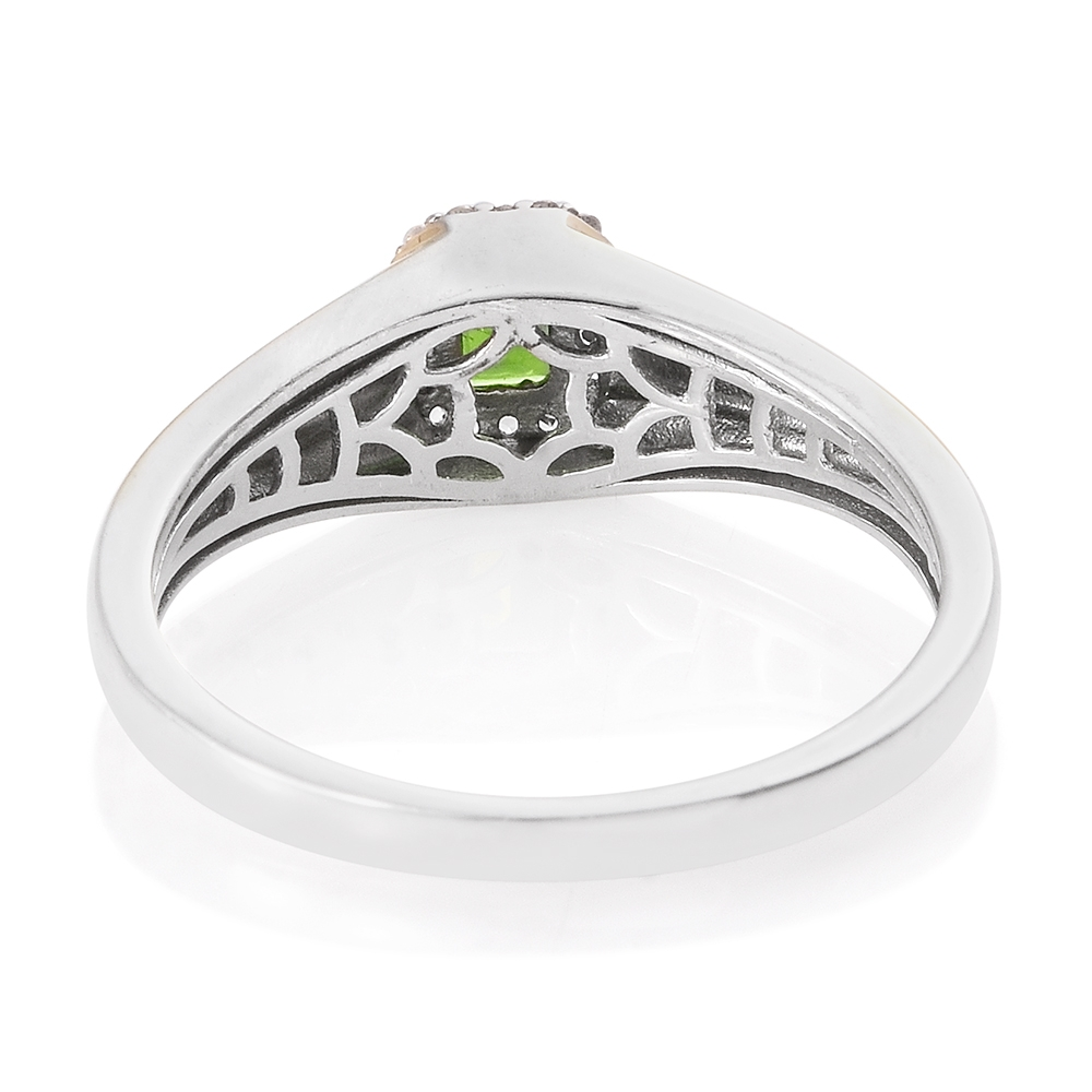 russian diopside cambodian zircon 14k yg and platinum