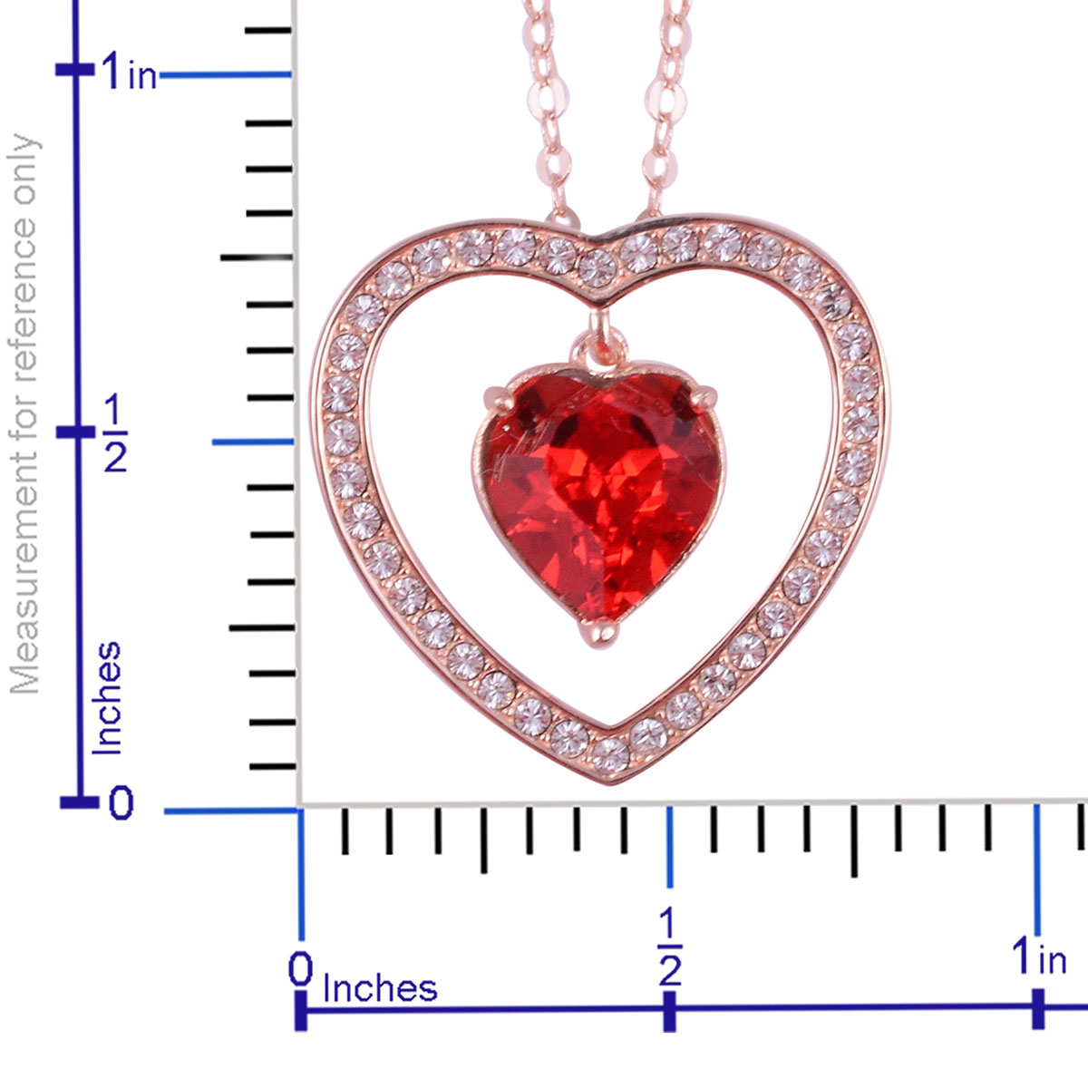 af5f4ae3c FROM THE HEART COLLECTION 14K RG Over Sterling Silver Heart Inner Drop  Pendant With Chain (18 in) Made with SWAROVSKI Red and White Crystal |  Pendants ...