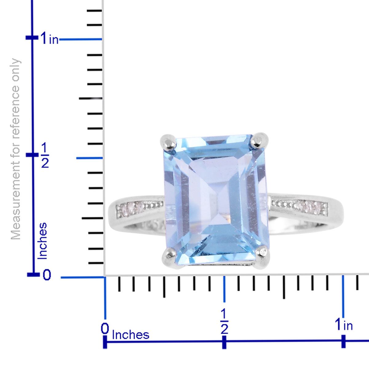 Blue Topaz, White CZ Sterling Silver Ring (Size 6 0) 3 67 ctw