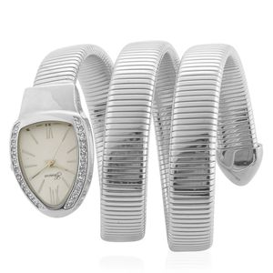 GENOA White Austrian Crystal Miyota Japanese Movement Wrap Watch in Silvertone with Stainless Steel Back