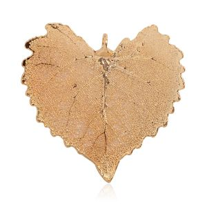 Nature's D'Or Cottonwood Leaf Dipped in 24K YG Pendant without Chain