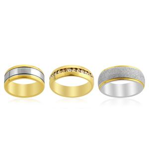Simulated Diamond Set of 3 Band Rings in ION Plated YG and Stainless Steel (Size 8) TGW 0.50 cts.