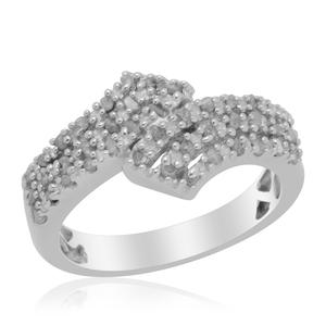 Diamond Platinum Over Sterling Silver Ring (Size 7.0) TDiaWt 0.25 cts, TGW 0.25 cts.