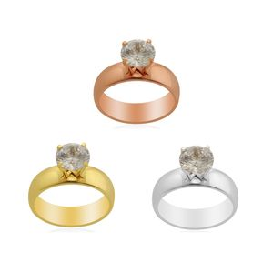 Essential Collection Simulated Diamond ION Plated YRG and Stainless Steel Set of 3 Rings (Size 7) TGW 9.00 cts.