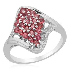 Mahenge Rose Spinel, Diamond Platinum Over Sterling Silver Ring (Size 9.0) TDiaWt 0.01 cts, TGW 1.010 cts.