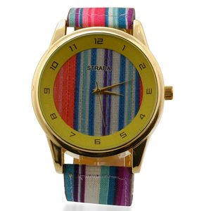 STRADA Japanese Movement Watch with Stainless Steel Back and Blue Striped Canvas Band