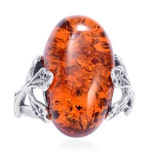 Baltic Amber Sterling Silver Cross Ring (Size 7.0)