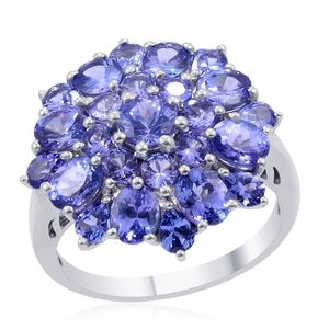Tanzanite Platinum Over Sterling Silver Ring (Size 8.0) TGW 5.524 cts.