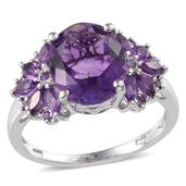 Lusaka Amethyst (Ovl 4.60 Ct) Ring in Platinum Overlay Sterling Silver Nickel Free (Size 8.0) TGW 5.65 cts.