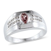 Mahenge Purple Spinel, Cambodian Zircon Platinum Over Sterling Silver Men's Ring (Size 10.0) TGW 1.500 cts.