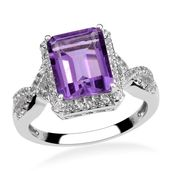 African Amethyst, White Topaz Sterling Silver Ring (Size 7.0) TGW 3.20 cts.