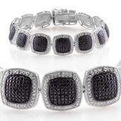 Black Diamond, Diamond  Platinum Over Sterling Silver Bracelet (7.50 In) TDiaWt 0.50 cts, TGW 0.500 cts.