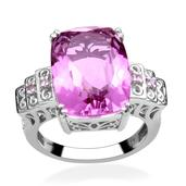 African Lilac Quartz, Pink Sapphire Platinum Over Sterling Silver Ring (Size 8.0) TGW 14.970 cts.