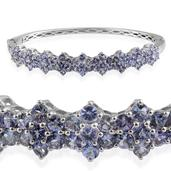 Tanzanite Platinum Over Sterling Silver Bangle (7.5 in) TGW 5.95 cts.