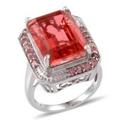 Papaya Quartz, Pink Tourmaline 14K YG and Platinum Over Sterling Silver Ring (Size 7.0) TGW 20.930 cts.