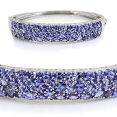 Tanzanite Platinum Over Sterling Silver Bangle (7.5 in) TGW 15.300 cts.