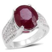 Niassa Ruby, White Topaz Sterling Silver Ring (Size 6.0) TGW 7.490 cts.