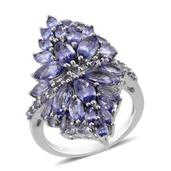 Tanzanite Platinum Over Sterling Silver Ring (Size 5.0) TGW 8.050 cts.