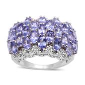 Tanzanite, Diamond Platinum Over Sterling Silver Ring (Size 9) TDiaWt 0.02 cts, TGW 6.770 cts.