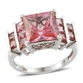 Signity Pink Topaz (Sqr 6.30 Ct) Ring in Platinum Overlay Sterling Silver Nickel Free (Size 8) TGW 8.10 Cts.