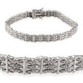 Diamond Platinum Over Sterling Silver Bracelet (8.50 In) TDiaWt 0.07 cts, TGW 0.070 cts.