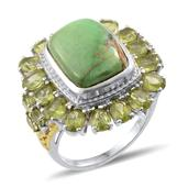 Utah Variscite, Hebei Peridot 14K YG and Platinum Over Sterling Silver Ring (Size 7.0) TGW 14.800 cts.