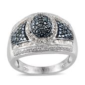 Blue Diamond (IR), Diamond Platinum Over Sterling Silver Ring (Size 7.0) TDiaWt 0.49 cts, TGW 0.491 cts.