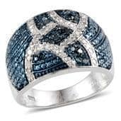 Diamond, Blue Diamond (IR) Blue Rhodium and Platinum Over Sterling Silver Ring (Size 9.0) TDiaWt 0.50 cts, TGW 0.50 cts.