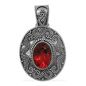Bali Legacy Collection Red Papaya Quartz (Ovl) Pendant without Chain in Sterling Silver Nickel Free TGW 6.11 Cts.