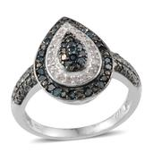 Blue Diamond (IR), Diamond Platinum Over Sterling Silver Ring (Size 7.0) TDiaWt 0.46 cts, TGW 0.460 cts.
