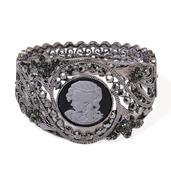 Mother's Day Cameo, Gray Austrian Crystal Dark Silvertone Bangle (7.5 in)