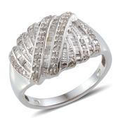 Diamond Platinum Over Sterling Silver Ring (Size 6.0) TDiaWt 0.50 cts, TGW 0.500 cts.