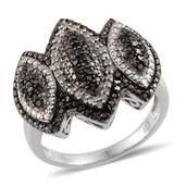 Black Diamond (IR), Diamond Platinum Over Sterling Silver Ring (Size 9.0) TDiaWt 1.00 cts, TGW 1.00 cts.
