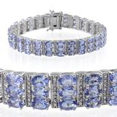 Tanzanite, Diamond Platinum Over Sterling Silver Bracelet (7.50 In) TDiaWt 0.03 cts, TGW 19.480 cts.