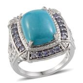 Arizona Sleeping Beauty Turquoise, Tanzanite Platinum Over Sterling Silver Ring (Size 9) TGW 10.100 cts.