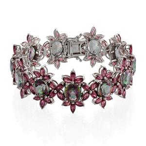 Northern Lights Mystic Topaz, Orissa Rhodolite Garnet Platinum Over Sterling Silver Bracelet (7.50 In) TGW 92.500 cts.