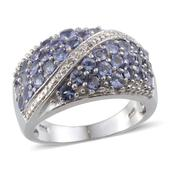 Tanzanite, Diamond Platinum Over Sterling Silver Ring (Size 8.0) TDiaWt 0.01 cts, TGW 2.910 cts.
