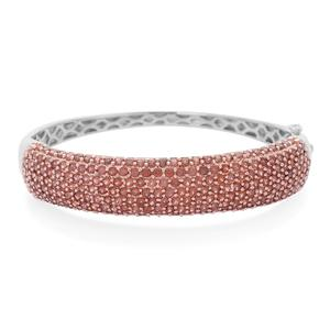 Mozambique Garnet 14K RG and Platinum Over Sterling Silver Bangle (7.5 in) TGW 10.00 cts.